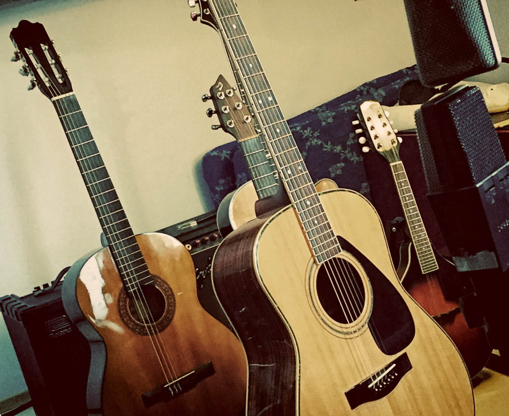 Nylon, 2 x steel, Mini acoustic and mandolin ready and willin'